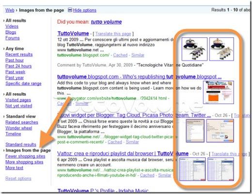 Google Search anteprima immagini