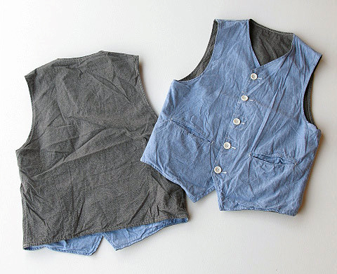 ENGINEERED GARMENTS REVERSIBLE CHAMBRAY VEST
