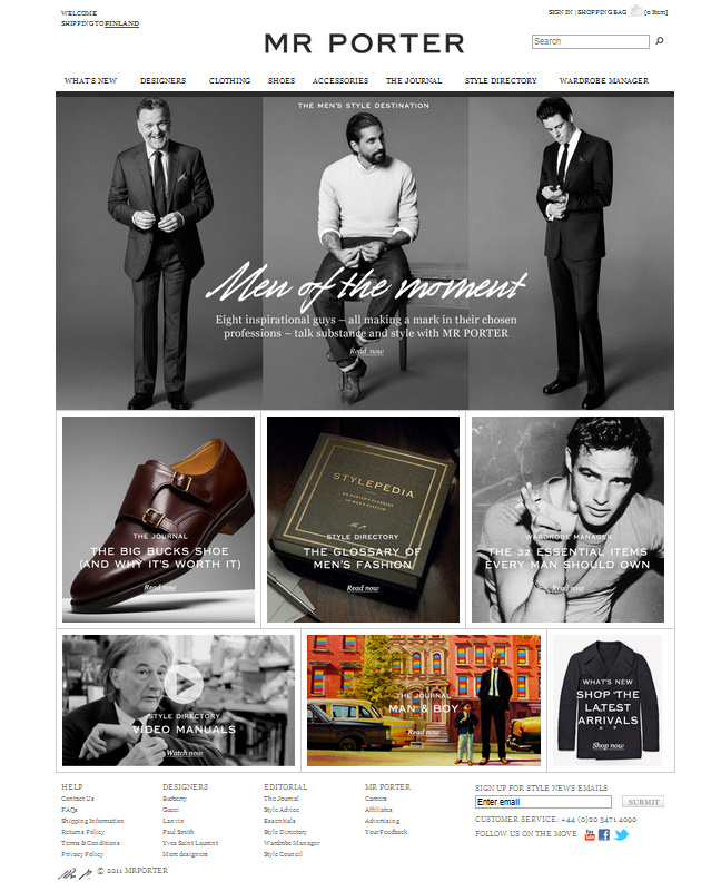 MR PORTER FRONT PAGE