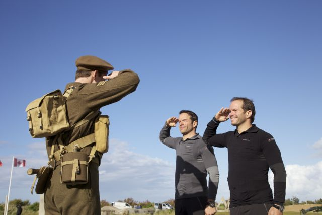 Pierre-and-Michel-salute-the-soldier-at-Juno-Beach-Centre-4