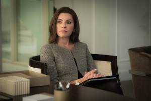 """Restraint"" -- Diane is personally conflicted when she is forced to argue a heated case between pro-choice and pro-life advocates in order to retain an important client, represented by attorney Ethan Carver (Peter Gallagher). Also, Alicia and Lucca are desperate for new business and attempt to poach clients from Louis Canning (Michael J. Fox), on THE GOOD WIFE, Sunday, Nov. 22 (9:00-10:00 PM, ET/PT) on the CBS Television Network.  Pictured Julianna Margulies  as  Alicia Florrick     Photo:   Michael Parmelee/CBS © 2015 CBS Broadcasting Inc. All Rights Reserved."