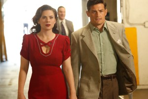 "MARVEL'S AGENT CARTER - ""The Lady in the Lake"" - In the season premiere episode, ""The Lady in the Lake,"" Peggy moves to the City of Angels to help Chief Daniel Sousa at the West Coast Strategic Scientific Reserve (SSR) investigate a bizarre homicide involving an alleged killer and Isodyne Energy, and reunites with some familiar faces. ""Marvel's Agent Carter"" returns for a second season of adventure and intrigue, starring Hayley Atwell in the titular role of the unstoppable agent for the SSR (Strategic Scientific Reserve), TUESDAY, JANUARY 19 (9:00-10:00 p.m. EST) on the ABC Television Network. (ABC/Kelsey McNeal) HAYLEY ATWELL, ENVER GJOKAJ"