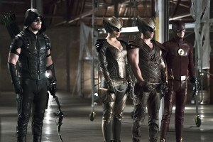 "Arrow -- ""Legends of Yesterday"" -- Image AR408B_0242b2.jpg -- Pictured (L-R): Stephen Amell as The Arrow, Ciara Renee as Hawkgirl, Falk Hentschel as Hawkman and Grant Gustin as The Flash -- Photo: Katie Yu/ The CW -- © 2015 The CW Network, LLC. All Rights Reserved."