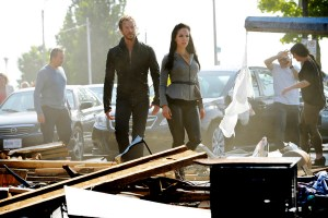 "LOST GIRL -- ""Here Comes the Night"" Episode 507 -- Pictured: (l-r) Kris Holden-Ried as Dyson, Anna Silk as Bo -- (Photo by: Steve Wilkie/Prodigy Pictures)"