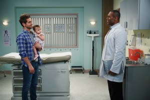 "BABY DADDY - ""Parental Guidance"" - Ben takes Emma to his old pediatrician for a check-up and must admit he hasn't had a physical in years. When the doctor insists Ben has an exam and finds something of concern, Ben has a bit of a panic attack about his future and worries about who will take care of Emma. He flashes forward through Emma's life as she's raised by Bonnie, Tucker and Danny and is horrified by what he imagines. Ben knows Riley is the best choice for Emma, but she has serious doubts about her maternal abilities. Bonnie has lunch with Brad (Peter Porte), mistakenly believing that he is his twin brother, Tad. After their talk, Bonnie realizes she's still in love with Brad and wants him back. But when Brad reveals his true identity, Bonnie can't believe he's still so deceitful and never wants to see him again. Meanwhile, a flash mob yields a very surprising twist. This episode of ""Baby Daddy"" airs Wednesday, July 8 (8:30-9:00 p.m. ET/PT), on ABC Family. (ABC Family/Bruce Birmelin)