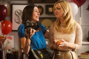"ODD MOM OUT -- ""Sip 'n See"" Episode 107 -- Pictured: (l-r) Jill Kargman as Jill, Abby Elliott as Brooke -- (Photo by: Barbara Nitke/Bravo)"