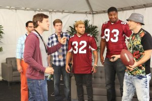 "THE LEAGUE -- ""The Other Draft"" -- Episode 701 (Airs Thursday, September 9, 10:00 pm e/p Pictured: (l-r) Nick Kroll as Ruxin, Mark Duplass as Pete, Stephen Rannazzisi as Kevin, Tyrann Mathieu, Calais Campbell, Paul Scheer as Andre. CR: Patrick McElhenney/FX"