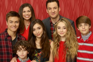 "GIRL MEETS WORLD - Disney Channel's ""Girl Meets World"" stars Peyton Meyer as Lucas Friar, August Maturo as Auggie Matthews, Ben Savage as Cory Matthews, Rowan Blanchard as Riley Matthews, Danielle Fishel as Topanga Matthews, Sabrina Carpenter as Maya Hart and Corey Fogelmanis as Farkle. (DISNEY CHANNEL/Bob D'Amico)"