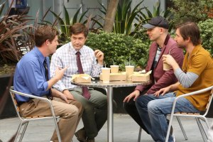 """THE LEAGUE --  """"The Bully"""" -- Episode 705 (Airs Wednesday, October 7, 10:00 pm e/p) Pictured: (l-r) Stephen Rannazzisi as Kevin, Mark Duplass as Pete, Paul Scheer as Andre, Jon Lajoie as Taco. CR: Patrick McElhenney/FX"""