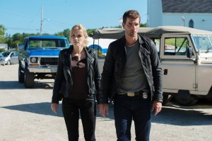 "HAVEN -- ""New World Order"" Episode 514 -- Pictured: Emily Rose as Audrey Parker, Lucas Bryant as Nathan Wuornos -- (Photo by: Mike Tompkins/Haven 5 Productions/Syfy)"