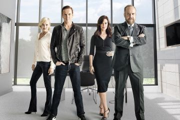 "PR Art for the Showtime original series Billions. - Photo:  James Minchin/SHOWTIME - Photo ID:  BILLIONS_PRArt_04.R    Pictured:  Malin Akerman as Lara Axelrod, Damian Lewis as Bobby ""Axe"" Axelrod, Maggie Siff as Wendy Rhoades and Paul Giamatti as Chuck Rhoades"