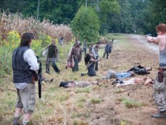 Dr. Eugene Porter (Josh McDermitt), Abraham (Michael Cudlitz) and Walkers - The Walking Dead _ Season 4, Episode 11 - Photo Credit: Gene Page/AMC