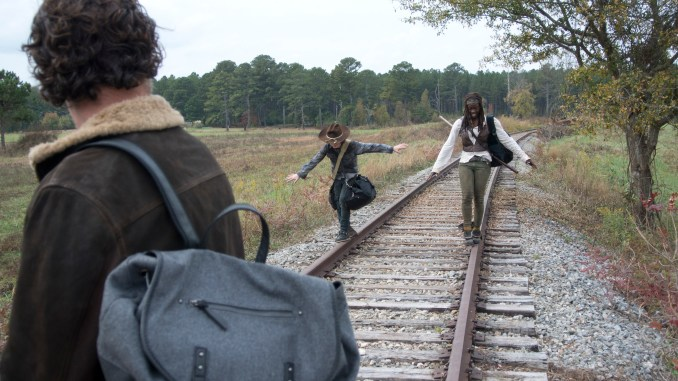Rick Grimes (Andrew Lincoln), Carl Grimes (Chandler Riggs) and Michonne (Danai Gurira) - The Walking Dead _ Season 4, Episode 15 - Photo Credit: Gene Page/AMC