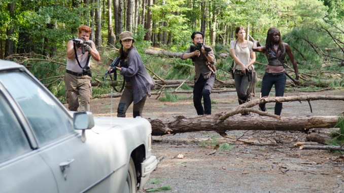 Michael Cudlitz as Abraham, Christian Serratos as Rosita Espinosa, Steven Yeun as Glenn Rhee, Lauren Cohan as Maggie Greene and Danai Gurira as Michonne - The Walking Dead _ Season 5, Episode 11 - Photo Credit: Gene Page/AMC