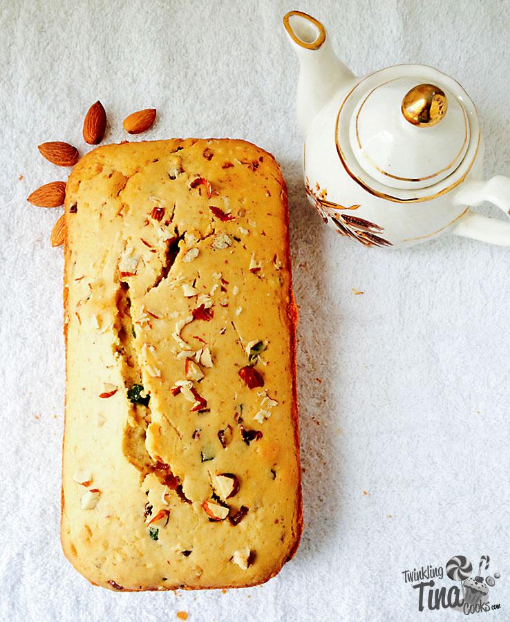 candied fruit loaf cake, fruit cake, tutti fruti cake, tuti fruti cake, tea cake, beginner's cake recipe, cake recipe, easy baking, loaf cake