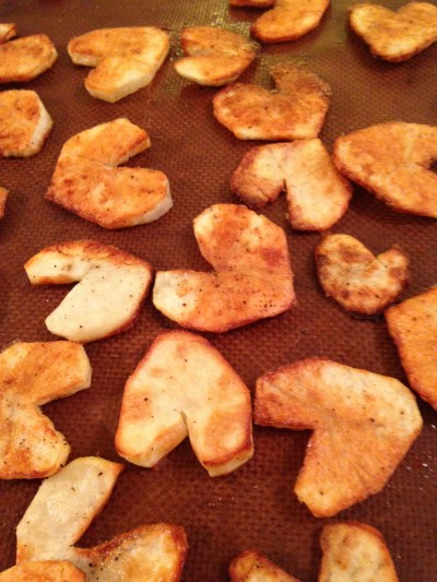 Potato hearts roasted