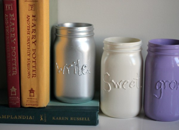 Mason jars all 3 on books