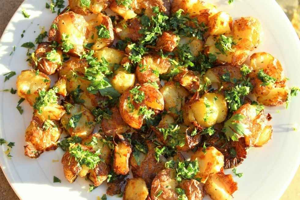 Crispy smashed potatoes with Gremolata