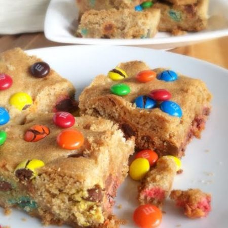 M&M Peanut Butter Sugar Cookie Bars