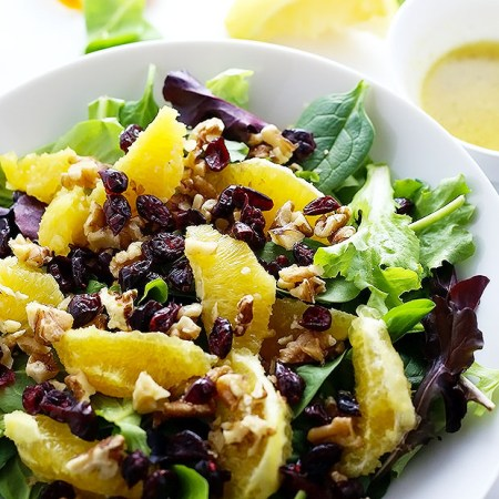 This Easy Walnut Cranberry Orange Salad is my new favorite! It is FULL of texture and drizzled with a sweet light dressing! Vegan + Gluten Free!