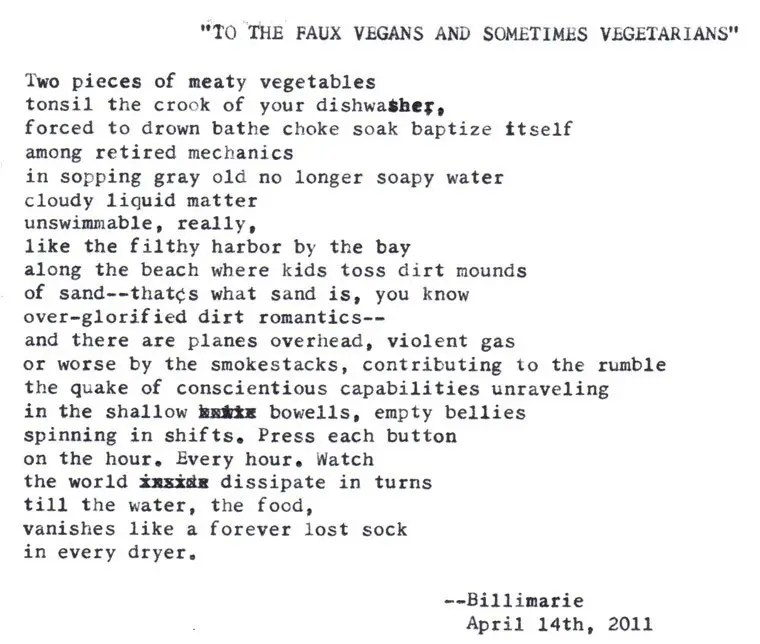 """""""TO THE FAUX VEGANS AND SOMETIMES VEGETARIANS"""""""