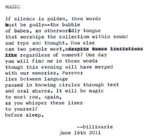 """Magic (To Ayumi's Daughter)"" by billimarie typewriter poetry"
