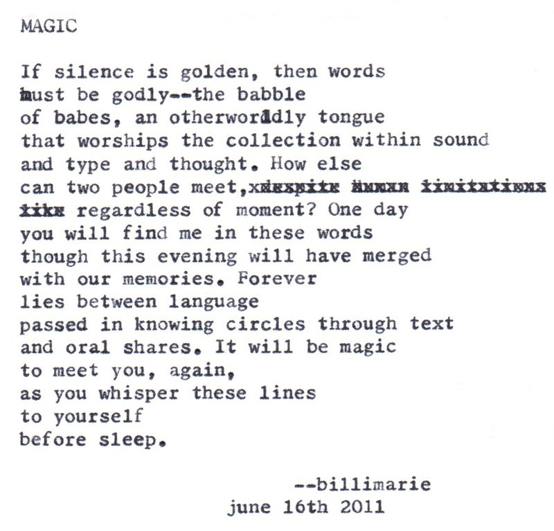 """Magic (To Ayumi's Daughter)"" by billimarie typewriter poetry"