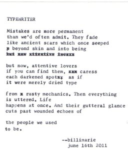 """Typewriter"" by billimarie typewriter poetry"
