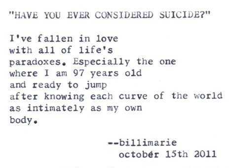 """""""Have You Ever Considered Suicide?"""""""