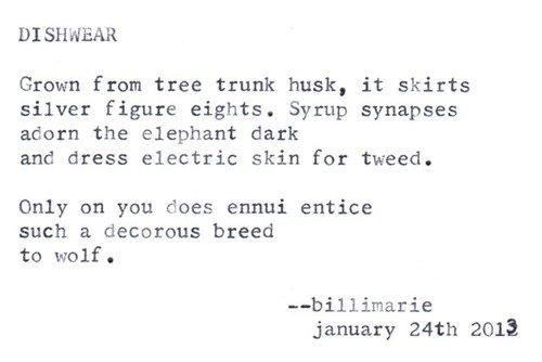 """""""Dishwear"""" by billimarie typewriter poetry"""