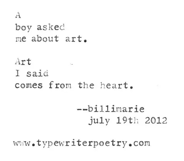 """""""As We Peel Back The Layers Of The Artist's Anticipated Level Of Engagement, We Find Numerous Sources Of Radical, Inclusionary, Destructive Creation Visions Constructed In Such A Manner That One Would Have To Lack All Sensation In Order To Dehumanize This Rendition Of Our Given Subjective Realities"""" typewriter poetry by billimarie"""