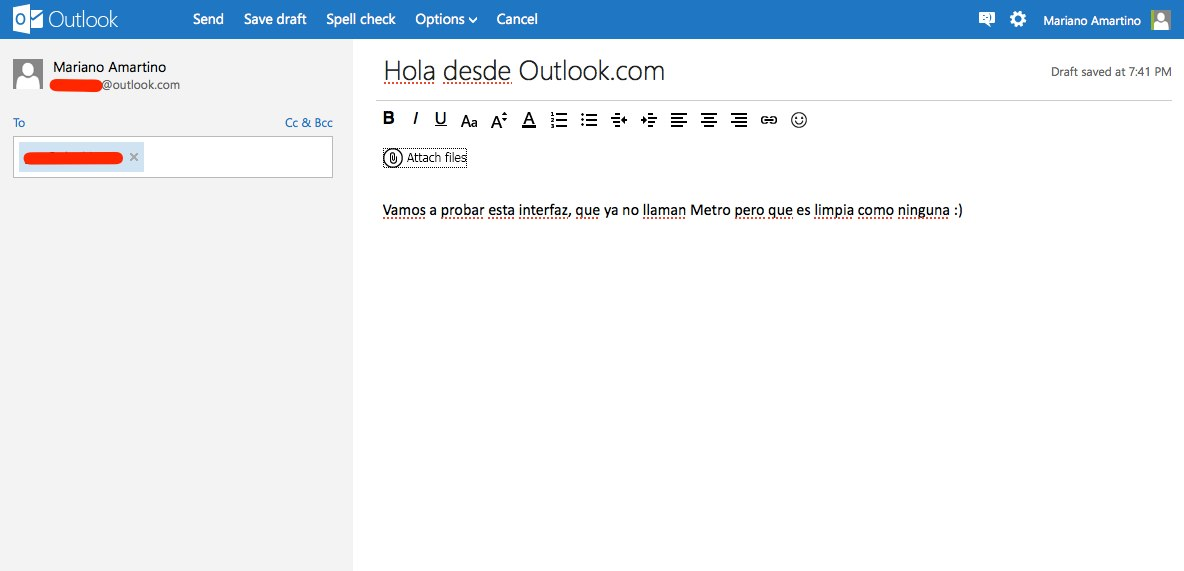 Outlook.com interfaz