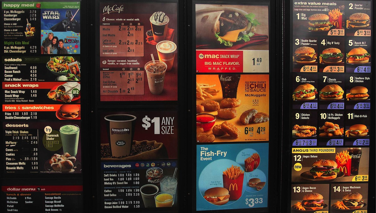 menu macdonalds