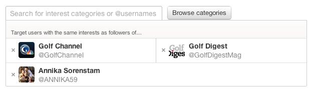 Anuncios en Twitter de Golf_Interests