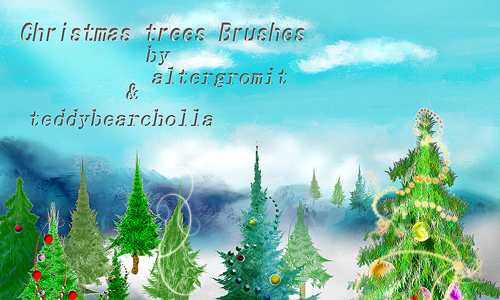 Christmas Brushes for Photoshop - Christmas Tree Brushes