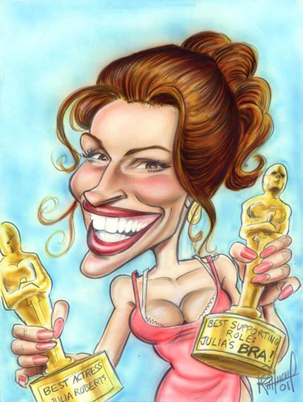 Julia Roberts - caricature by Tom Richmond