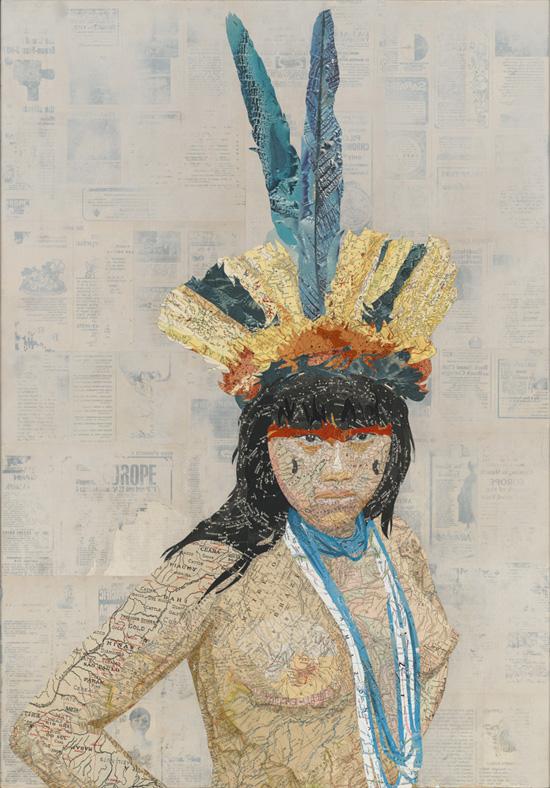 Amazonia, 2012 Inlaid maps, travel magazines, on panel by Matthew Cusick