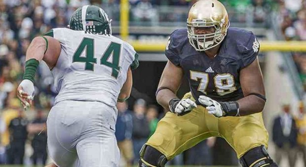 Notre Dame Fighting Irish offensive tackle Ronnie Stanley (78) battles with Michigan State Spartans defensive end Marcus Rush (44) in action during the 2013 game between the Notre Dame and Michigan State.  Notre Dame won the game by a score of 17-13. (Photo: Robin Alam / Icon SMI).