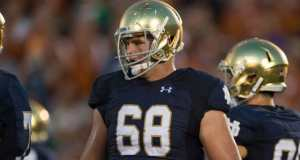 Mike McGlinchey will anchor the 2016 Notre Dame offensive line. (Photo: Zach Bolinger // Icon Sportswire)