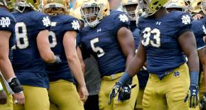 Nyles Morgan and the Notre Dame defense showed some signs of life after the dismissal of Brian VanGorder in 2016. (Photo © Matt Cashore-USA TODAY Sports)