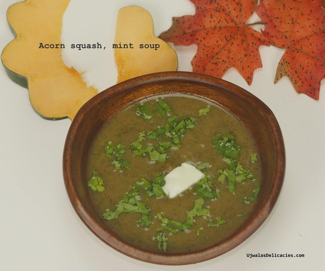 Acorn squash, mint soup – stock-free, vegan, gluten-free
