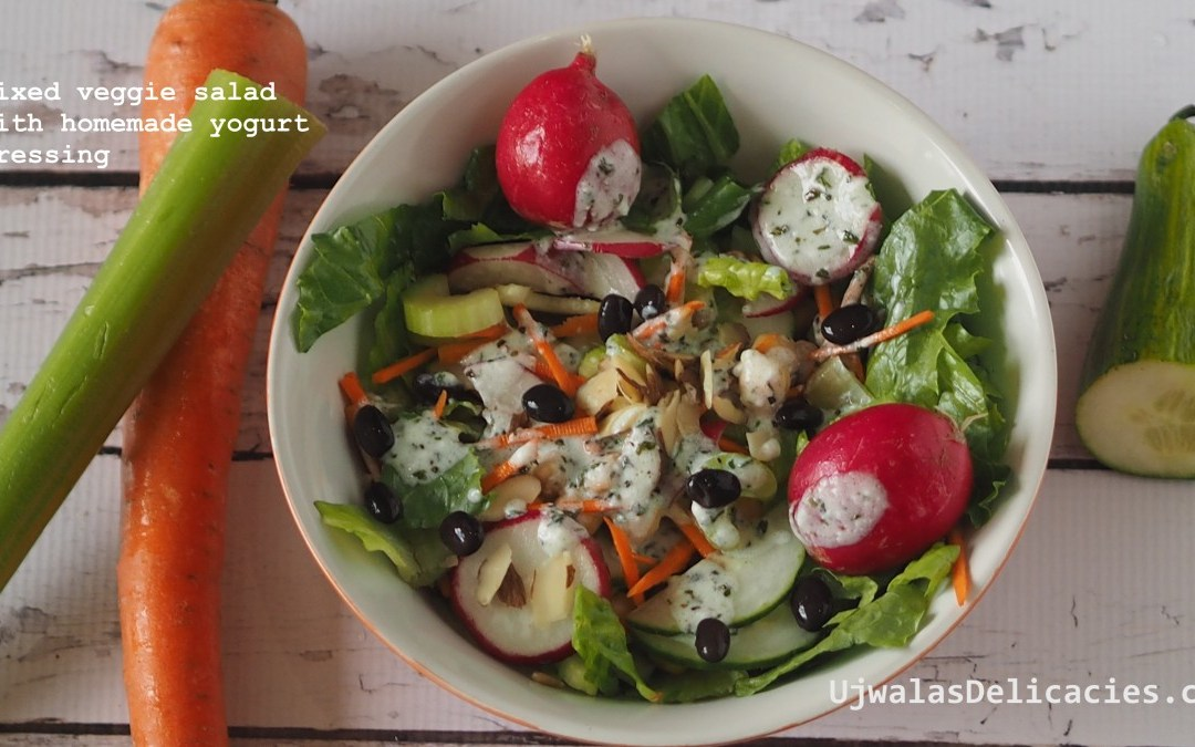 Mixed veggie salad with homemade yogurt dressing