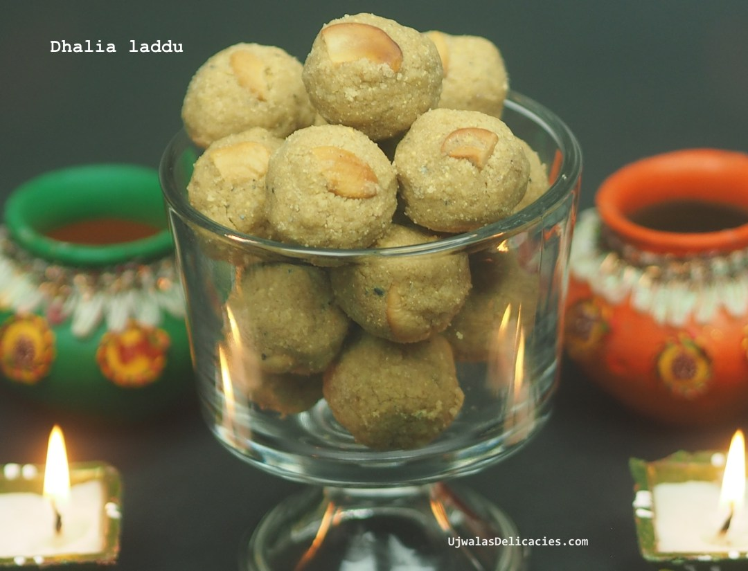 10 minute, 5 ingredient Dalia, brown sugar laddu