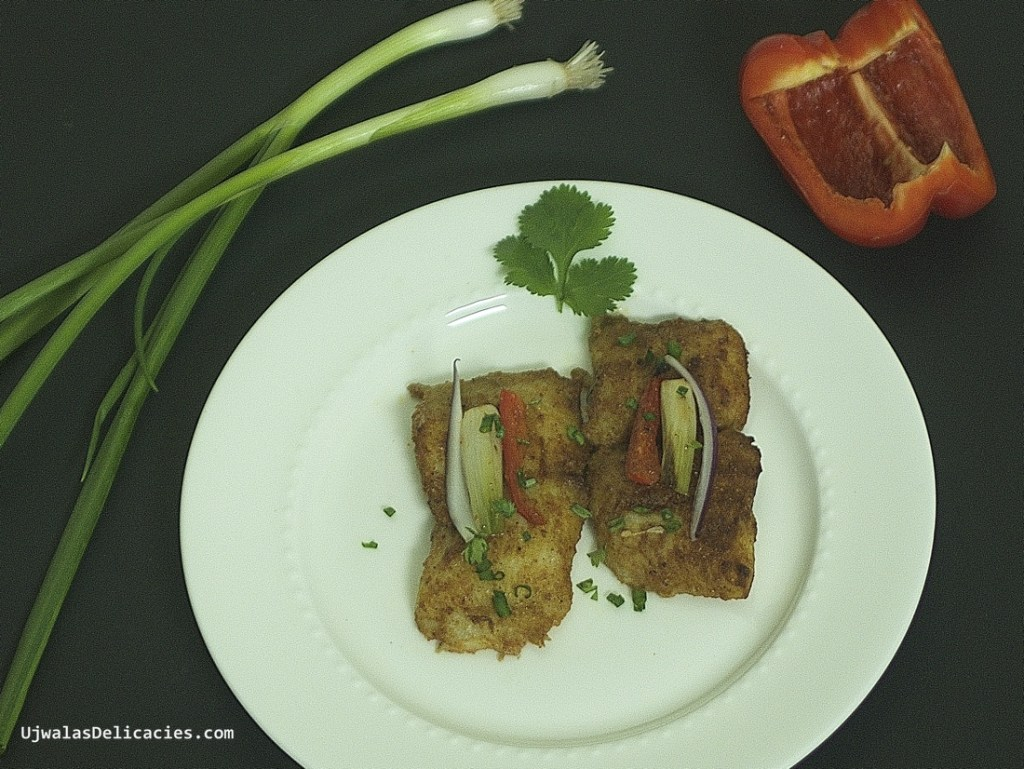 Baked Fish with Bellpepper and spring onion