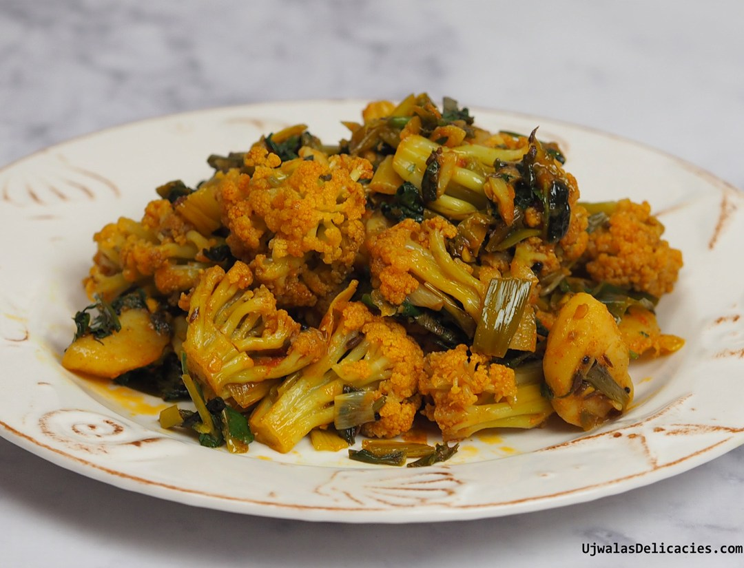 Alu Gobi with chinese cauliflower