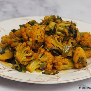 Alu Gobi with chinese cauliflower