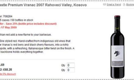Vera e Rahovecit në Waitrose, £5.69 për shishe
