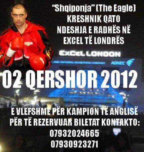 Kreshnik Qato, WBF World Champ is boxing in London on 2nd June 2012