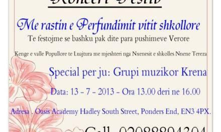 <!--:sq-->Koncert festiv në Londër në lidhje me përfundimin e vitit shkollor 2012 – 2013<!--:-->