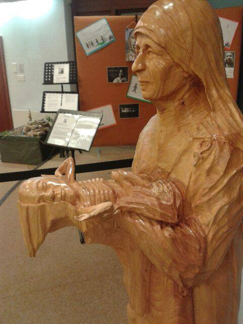 Life-size wooden carving of Mother Teresa created by an anglican priest